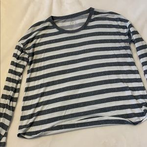 Maurice's 24/7 Grey & White Striped Long Sleeve